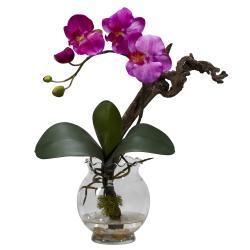 Mini Phalaenopsis w/Fluted Vase Silk Flower Arrangement - Thumbnail 1
