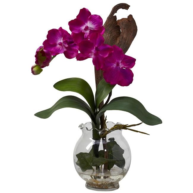 Mini Vanda w/Fluted Vase Silk Flower Arrangement