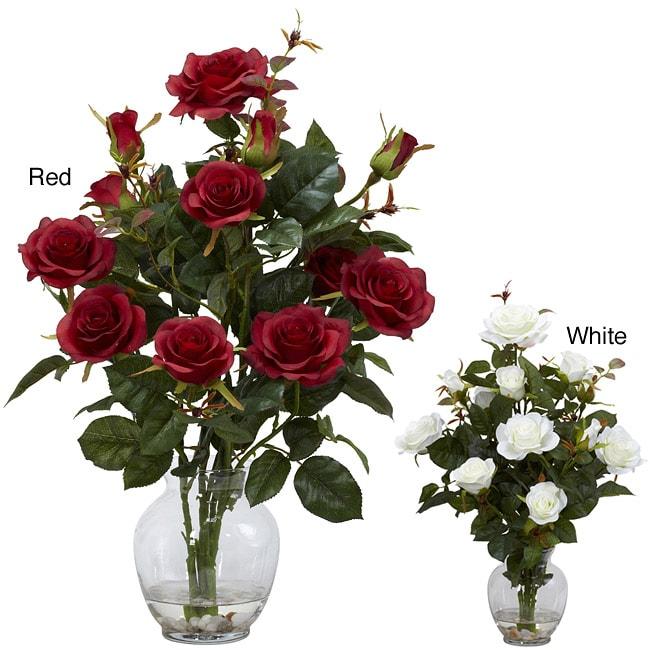 Nearly Natural Rose Bush w/Vase Silk Flower Arrangement (...