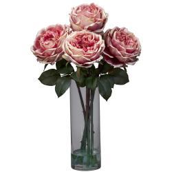 Fancy Rose w/Cylinder Vase Silk Flower Arrangement