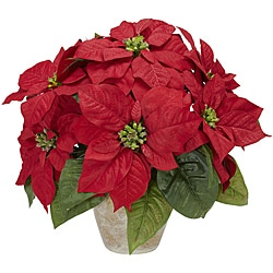 Poinsettia w/Ceramic Vase Silk Flower Arrangement - Thumbnail 0