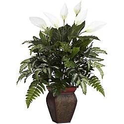 Laurel Creek Edwin Spathyphyllum Silk Plant with vase