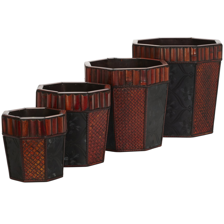 Bamboo Octagon Decorative Planters (Set of 4)