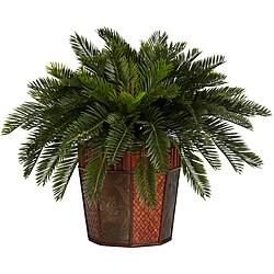 Cycas with Octagon Vase Silk Plant