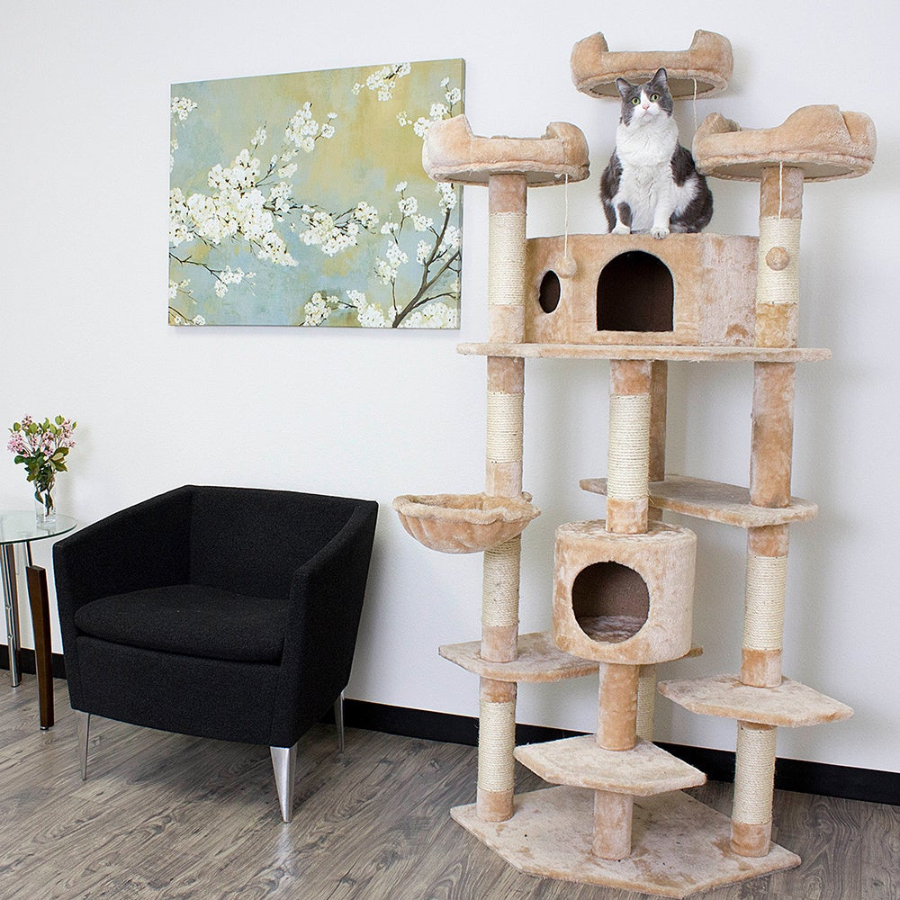 Kitty Mansions Denver Cat Tree Furniture (Beige), Brown