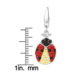 Sterling Silver Black, Red and Clear Crystal Ladybug Charm - Thumbnail 2
