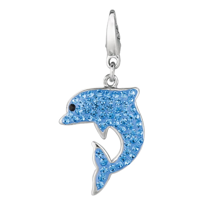 Sterling Silver Blue and Black Crystal Dolphin Charm