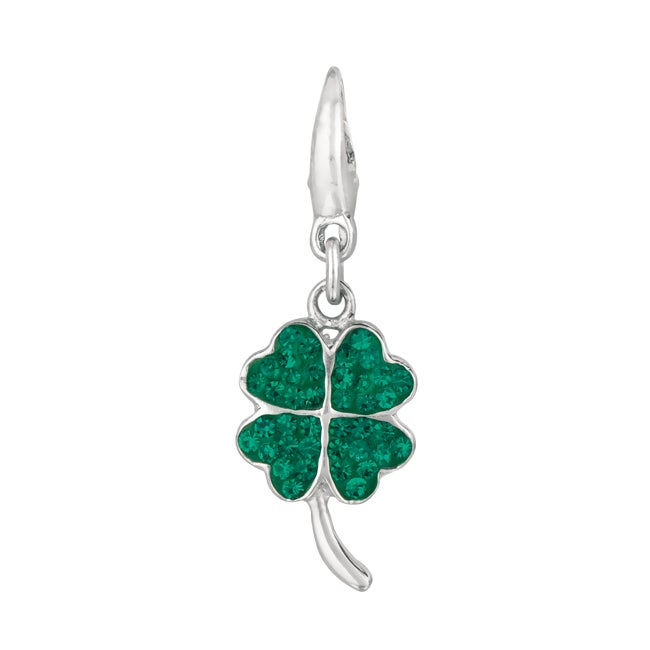 Sterling Silver Green Crystal 4-leaf Clover Charm