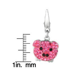 Sterling Silver Pink and Black Crystal Pig Charm