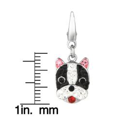 Sterling Silver Black, White, Pink and Red Crystal Boxer Charm - Thumbnail 2