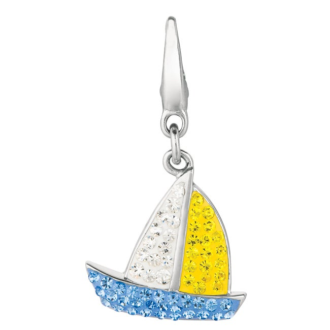 Sterling Silver Clear, Yellow and Blue Crystal Sailboat Charm