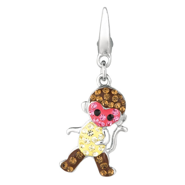 Sterling Silver Brown, Pink and Champagne Crystal Monkey Charm