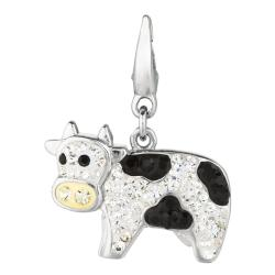 Sterling Silver Clear and Black Crystal Cow Charm