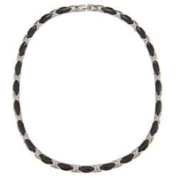 La Preciosa Stainless Steel Black Ceramic Necklace|https://ak1.ostkcdn.com/images/products/6353585/La-Preciosa-Stainless-Steel-Black-Ceramic-Necklace-P13973588.jpg?impolicy=medium
