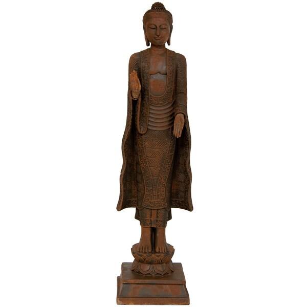Handmade Standing Semui-in Iron Look Buddha Statue (China) 21-inch