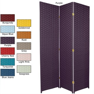 Handmade 6-foot Tall Special Edition Woven Fiber Room Divider (China) - 70.75 x 53.25 (Option: Purple)