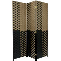 6-foot Tall Olive/Black Woven Fiber Room Divider (China)