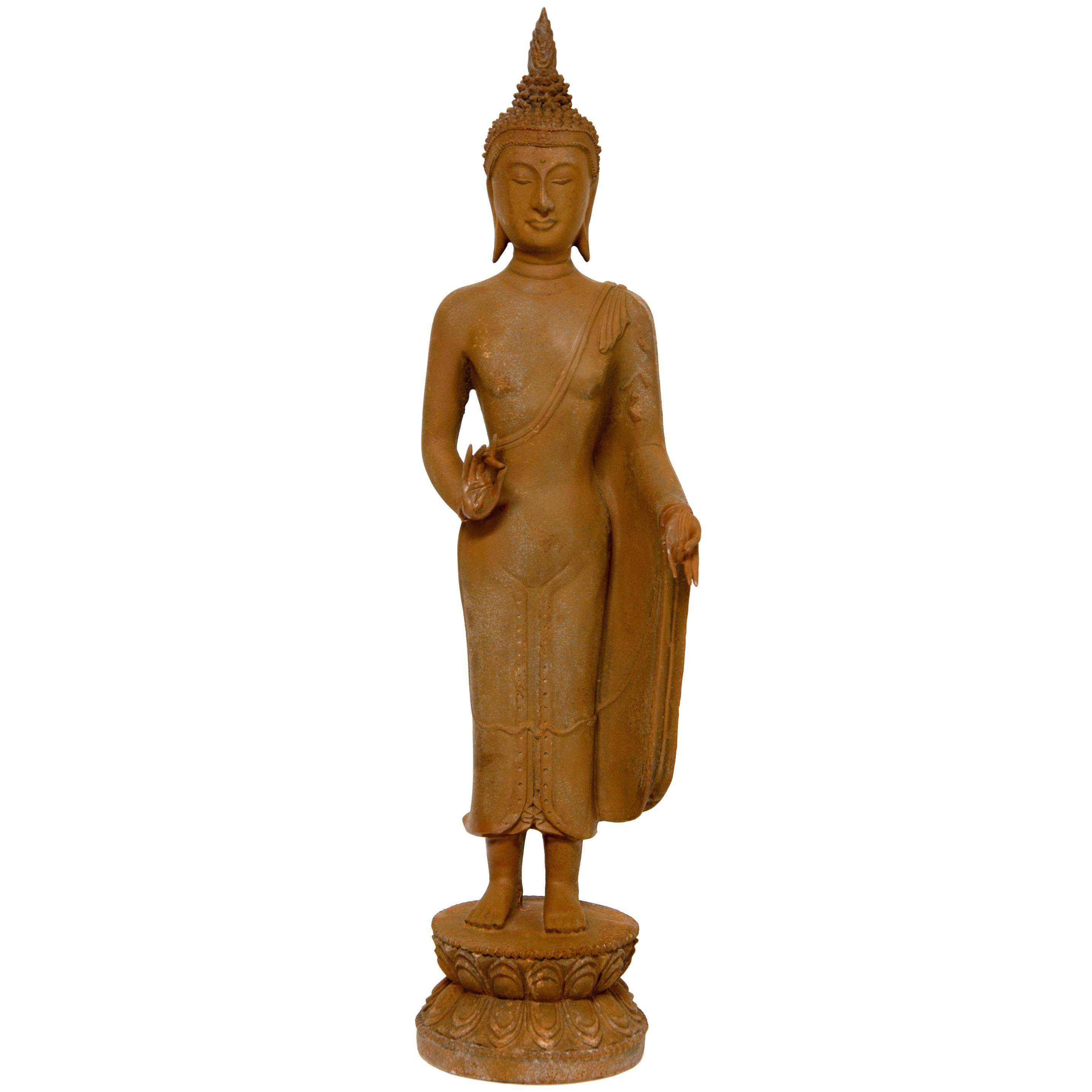 Handmade 21-inch Thai Standing Gebon Iron Look Buddha Sta...