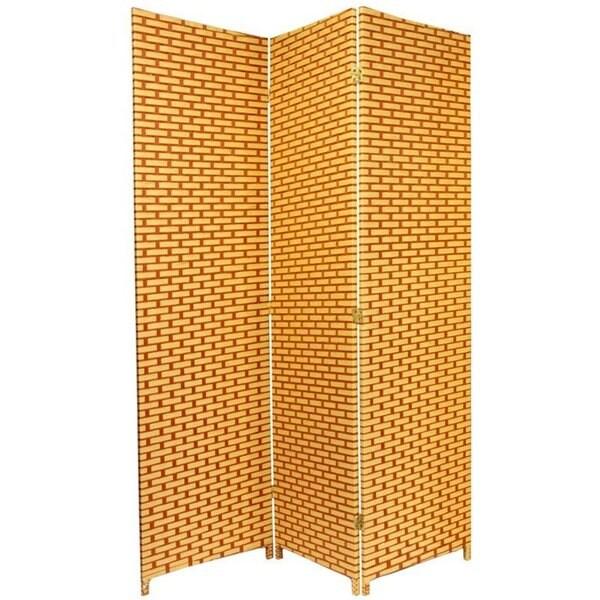Handmade 6-foot Tall Natural/Rust Woven Fiber Room Divider (China)