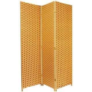 Handmade 6-foot Tall Natural/Rust Woven Fiber Room Divider (China)