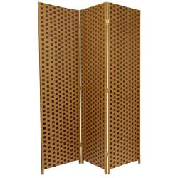 6-foot Tall Two Tone Brown Woven Fiber Room Divider (China)