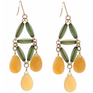 NEXTE Jewelry Genuine Yellow Jade Dangle Earrings