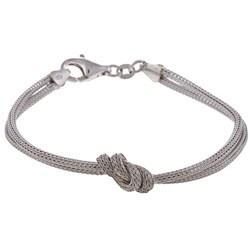 La Preciosa Sterling Silver Two-Strand Center Knot Bracelet