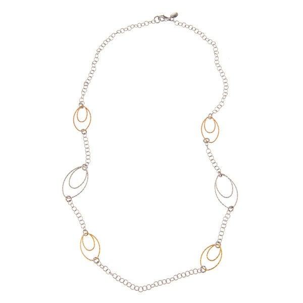 La Preciosa Sterling Silver Tri-Color Circle and Oval Link Necklace