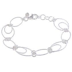 La Preciosa Sterling Silver Oval and Circle Link Bracelet
