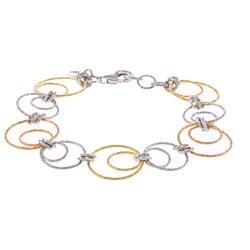 La Preciosa Sterling Silver Tri-Color Circle Link Bracelet