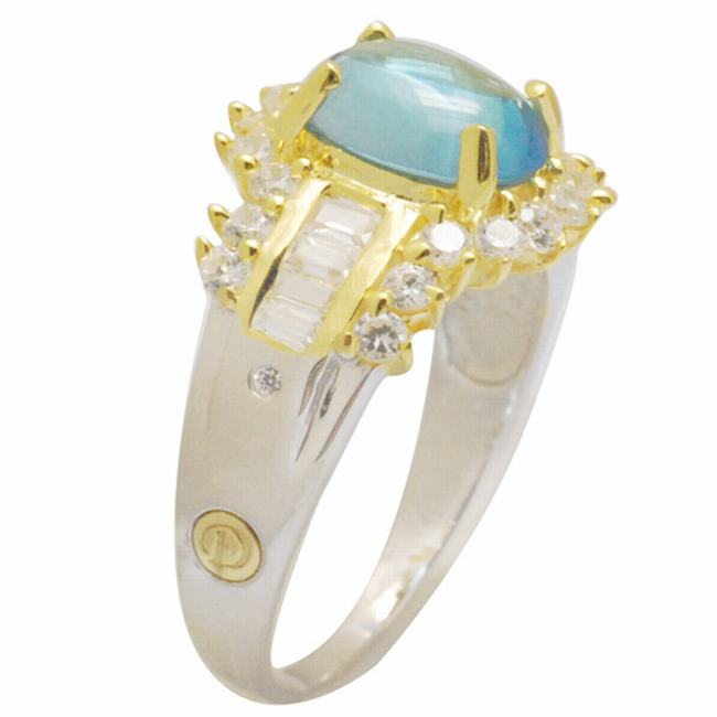 De Buman 18K Gold and Silver Blue Oval Topaz and Fancy-cut Cubic Zirconia Ring