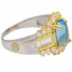 De Buman 18K Gold and Silver Blue Oval Topaz and Fancy-cut Cubic Zirconia Ring - Thumbnail 1