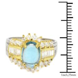 De Buman 18K Gold and Silver Blue Oval Topaz and Fancy-cut Cubic Zirconia Ring - Thumbnail 2
