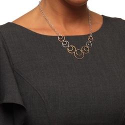 La Preciosa Sterling Silver Tri-Color Circles Dangling Necklace