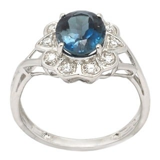 De Buman Sterling Silver Blue Topaz and Cubic Zirconia Ring (Size 7)