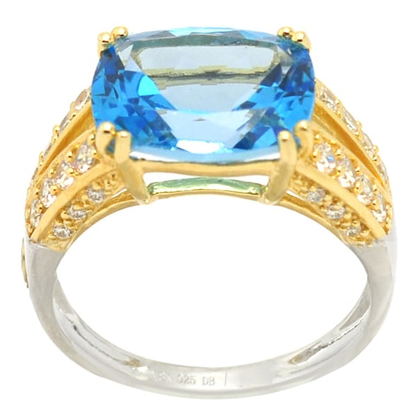 De Buman 18k Gold and Silver Topaz and Cubic Zirconia Ring