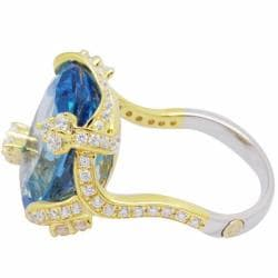 De Buman 18K Gold and Silver Blue Channel-set Topaz and Cubic Zirconia Ring