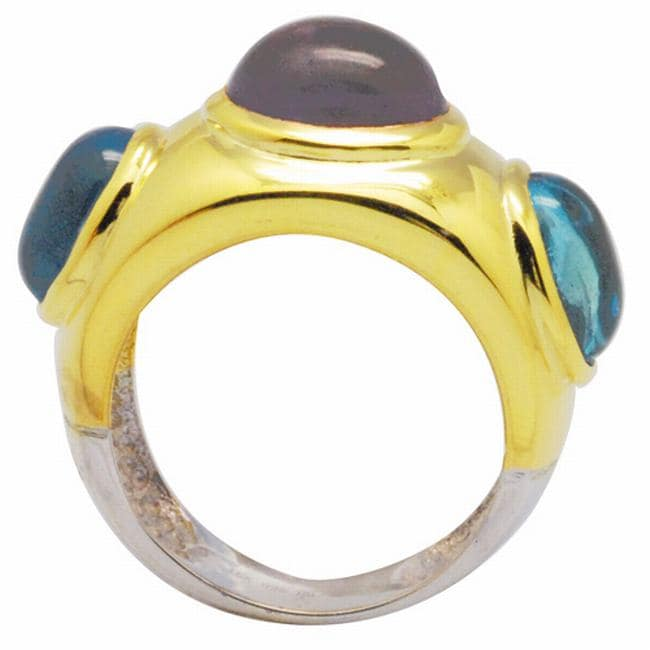 De Buman 18k Gold and Sterling Silver Amethyst and Blue Topaz Ring
