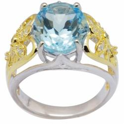 De Buman 18K Gold and Silver Blue Oval-cut Prong-set Topaz and White Cubic Zirconia Ring