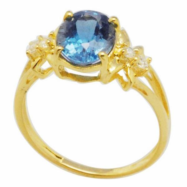 De Buman Sterling Silver London-blue Topaz and Cubic Zirconia Ring (Size 7)