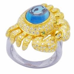 De Buman 18k Gold and Silver Swiss Topaz and Cubic Zirconia Ring