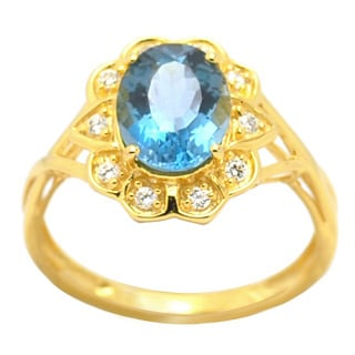 De Buman Sterling Silver London Blue Topaz and Cubic Zirconia Ring (Size 7)