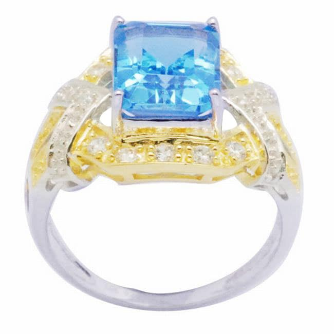 De Buman 18K Gold and Silver Blue Square-cut Prong-set Topaz and Cubic Zirconia Ring