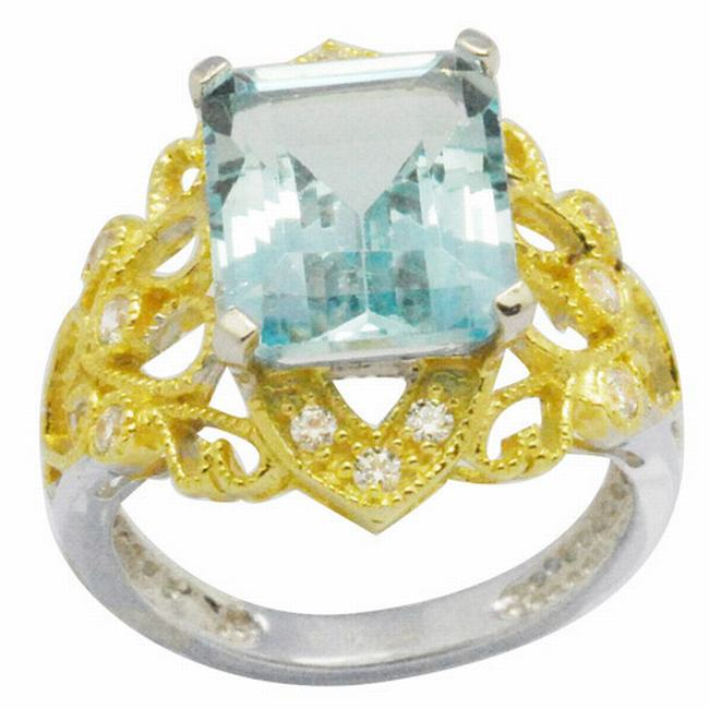 De Buman 18K Gold and Silver Blue Rectangle-cut Topaz and White Cubic Zirconia Ring
