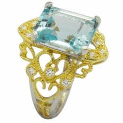 De Buman 18K Gold and Silver Blue Rectangle-cut Topaz and White Cubic Zirconia Ring - Thumbnail 1