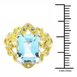 De Buman 18K Gold and Silver Blue Rectangle-cut Topaz and White Cubic Zirconia Ring - Thumbnail 2