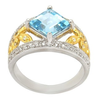 De Buman 18K Gold and Silver Blue Square Topaz and Cubic Zirconia Ring