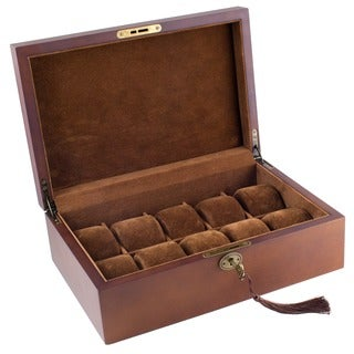 Caddy Bay Collection Vintage Brown Finish Wood Solid Top Watch Case