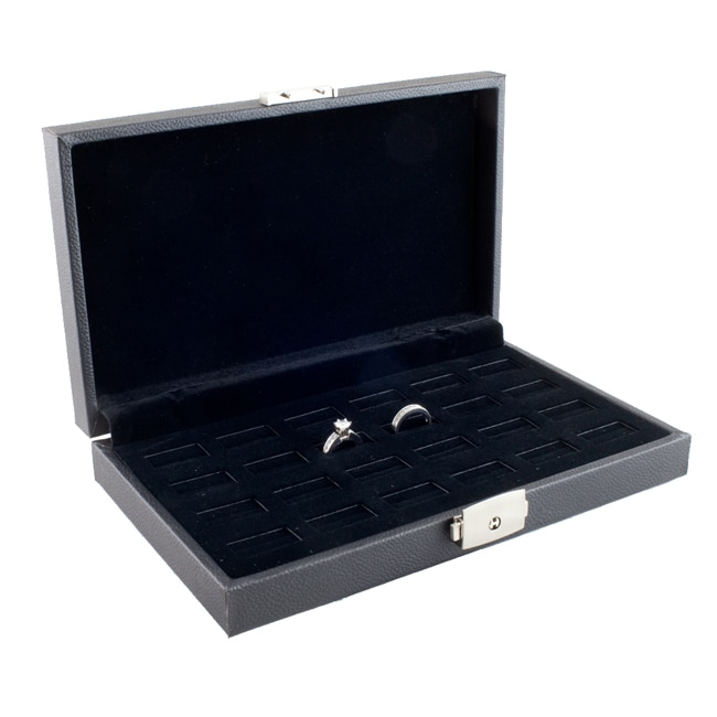 "Caddy Bay Collection 24 Wide Slot Jewelry Ring Display Storage Case - 1.68""h 5.25""w 8.75""l"