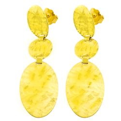 Fremada 14k Yellow Gold Satin Ovals and Circle Dangle Earrings